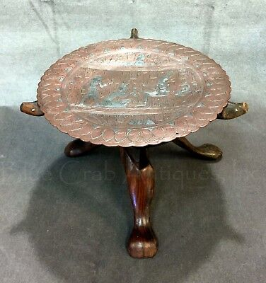 Egyptian Revival CAIROWARE Silver Inlaid Copper Tray on Carved Mongoose Stand