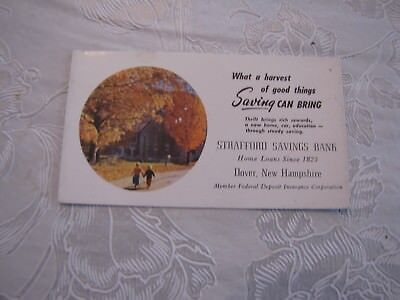 Vintage Advertising Ink Blotter-Strafford Savings Bank, Dover, Nh- Fall Scene