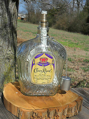 Upcycled CROWN ROYAL bottle, 1L - TIKI table torch - garden, outdoors