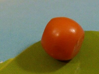 ANTIQUE NATURAL RED  INDO TIBETAN NEPALI CORAL BEAD 7.9 BY 6.6 MM pumtekman