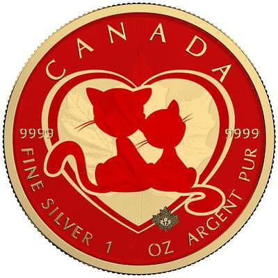 Canada 2018 5$ Maple Leaf 1Oz 9999 Silver Gold Plated Valentine´s Day Cats Coin