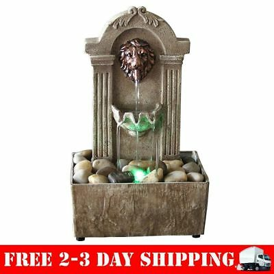 Rustic LION Indoor Water Fountain Tabletop Waterfall Relaxation Cascading  LED