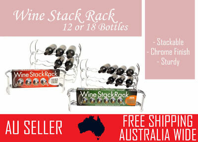 12/18 Bottle Stackable Wine Rack Stand Storage Organiser Chrome Metal Home Bar