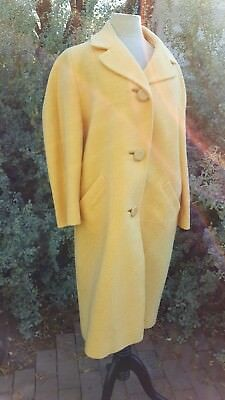 Vintage 1950's Mary Lewis Exclusive Lemon Yellow Boucle Car Coat L/XL