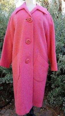 Vintage 1950's Pink / Dusty Rose / Boucle Knit Coat / Lucite Buttons L/XL