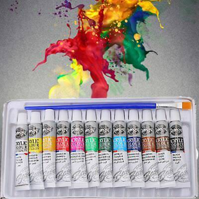 12 Colors Watercolor Acrylic Paint Set Oil Painting Draw Pigment With Brush