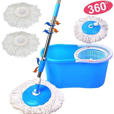 Spin Mop 360° Spinning Rotating Bucket Microfiber Cleaning Polishing 3 Dry Heads