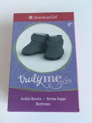"* AMERICAN GIRL 18"" ANKLE BOOTS Slouchy Slate Blue Shoes for doll - NEW IN BOX"