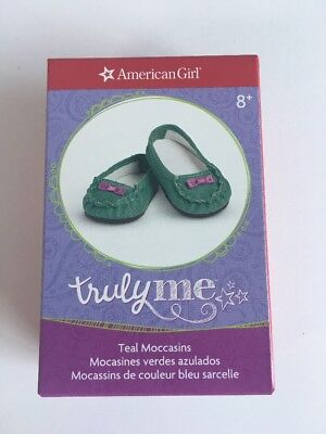 "* AMERICAN GIRL 18"" MOCCASIN Teal Flat Shoes with bows for doll - NEW IN BOX NIB"