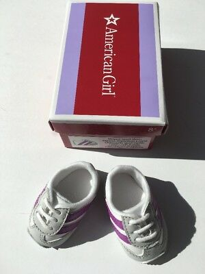 "* AMERICAN GIRL 18"" SNEAKERS Striped White Sport Shoes for doll - NEW IN BOX NIB"