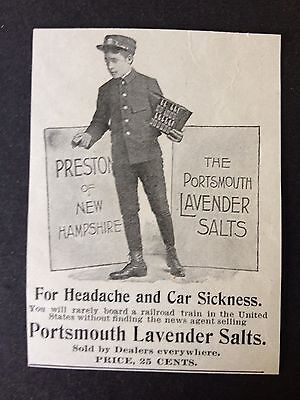 Antique 1896 Ad (1800-8)~Portsmouth Lavender Salts For Headache