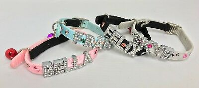 Personalised (Diamante Letters) Safety Adjustable Cat Collar, Bell, 4 Colours