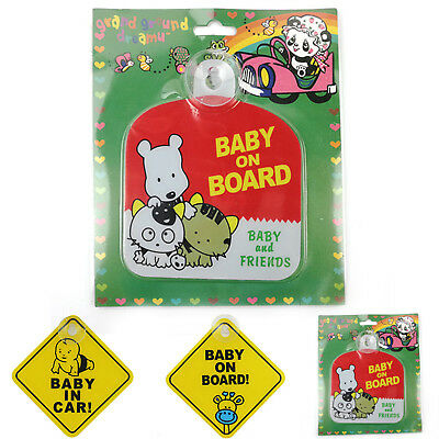 2X Car Baby Warning Safety Suction Sticker Baby on Board Baby in Auto Cartoon BE