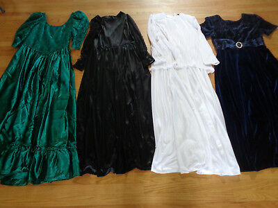 Vintage Assorted Lot of 4 Formal Gowns ~ Size 12 or > ~ Black White Green Navy!