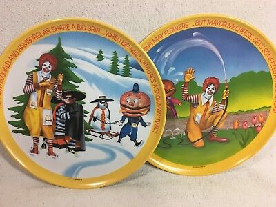 2 Vintage McDonalds Ronald McDonald Season Plates Lexington Spring Winter 1977