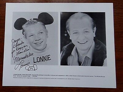 Autograph Hand Signed 8X10 Mousketeer Mickey Mouse Club Then & Now LONNIE BURR