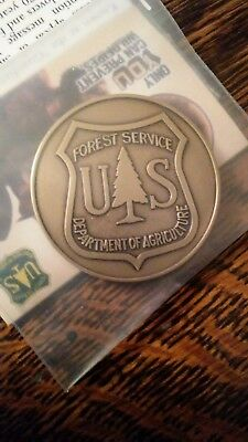 """Bronze SMOKEY BEAR COIN. COLLECTOR'S TOKEN. 1 1/2"""". SMOKEY ON ONE SIDE F.S.OTHER"""