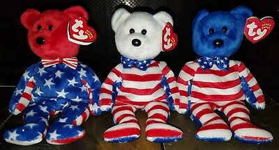 Ty Beanie Baby Bears Liberty Red/White/Blue Set Lot of 3 Rare USA MWMT!