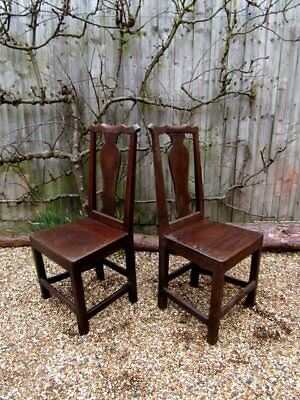 Pair of 18th Century English Side Chairs, Oak. Repair/Restoration