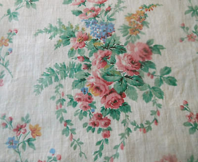 Antique French Cottage Floral Roses Cotton Fabric ~ Pink Tangerine Blue Green