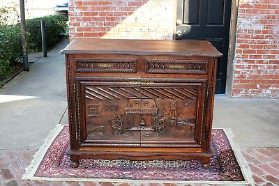 Beautiful French Antique Brittany Carved Oak Small Sideboard Furniture Cabinet