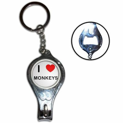 I Love Heart Monkeys - Nail Clipper Bottle Opener Metal Key Ring New