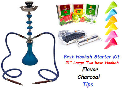 "2 Hose 21"" Tall Hookah Glass Water Pipe Vase With charcoal Al Fakher Flavor Tips"
