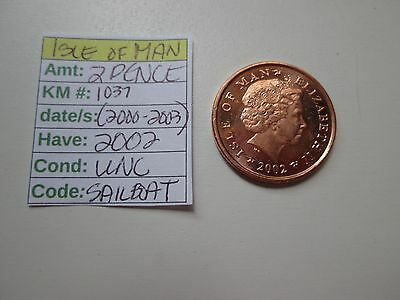 Single coin from ISLE OF MAN, 2002, 2 pence, Km 1037 (2000-2003,) UNC