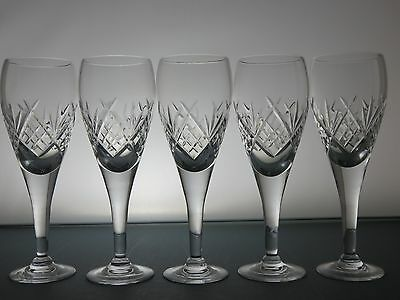 Beautiful Design Cut Glass Crystal Wine/sherry Glasses Set Of 5 - 15.5 Cm Tall