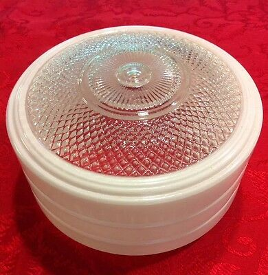 Vintage Frosted White & Faceted Clear Glass Globe Lamp Shade - round, dome