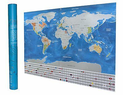 Scratch Off World Map Travel Poster - Perfect Gift for Travellers - Detailed and