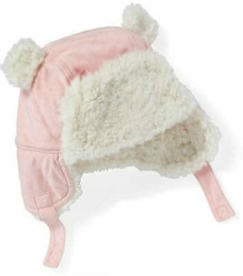 bd6ef1e2ef0 Old Navy Baby Sherpa Lined Trapper Hat PINK Size 18 24 Months Bear Ears NWT  ~