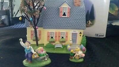 Retired Dept 56 Snow Village Happy Easter House # 56.55090 3 Piece Set