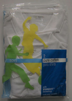 New Boys Marks & Spencer White School Polo Shirts x 2 Chest Size 41 39 RRP £12