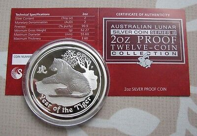 2010 Australia Lunar Tiger $2 PROOF .999 Silver 2oz Coin (limited to 1000) COA