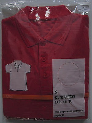 New Boys Girls Marks & Spencer Red School Polo Shirts x 2 Age 9 Years