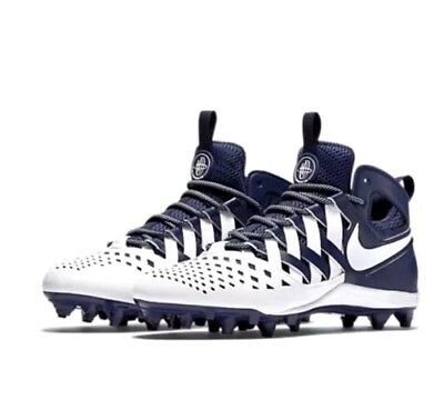 Mens NIKE HUARACHE V 5 LAX Lacrosse Football Cleats  NAVY BLUE WHITE 8.5