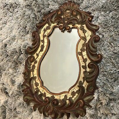 Vintage French Provincial Style Decoline New York Hand Painted Hand Made Mirror