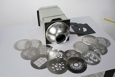Photogenic light modifier with 6 inch Rosco projection disks and case.