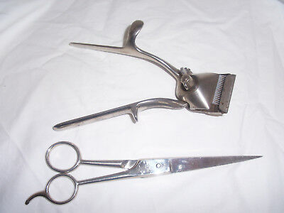 Vintage Brown Sharpe Manual Hand Hair Clippers No 000 And Scissors