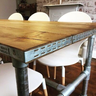 Industrial Style Scaffold Board Dining Table, 8 Seater Rustic Metal Frame Pipe