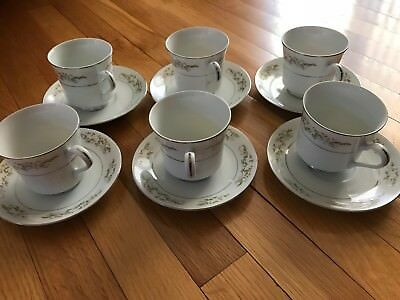 VINTAGE INTERNATIONAL SILVER CO. FINE CHINA 326 SPRINGTIME (6) Cups and Saucers