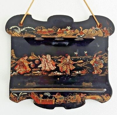 Antique Japanese Lacquered Paper Mache Hanging Wall Pipe Rack Leisure Play Ball