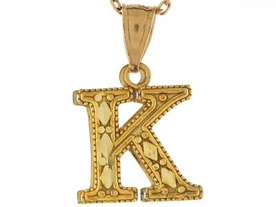 10k or 14k Real Yellow Gold 1.29cm Letter K Cute Charm Pendant