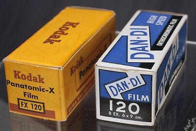Lot of 2 B&W roll film, Kodak FX120 and Dan-di film 120
