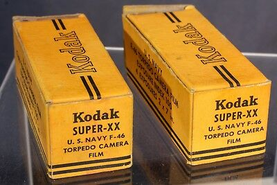 Lot of 2 roll film, Kodak Super XX US Navy F46 Torpedo camera film