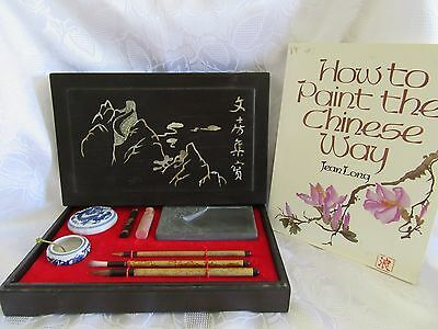 Chinese Writing brush / ink slab / ink / Pen resting / Calligraphy Set & BOOK ~