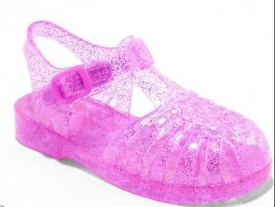 New baby toddler girls Jelly plastic purple lights up sandals shoes 7,8