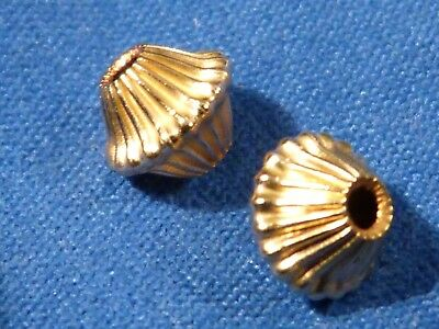 Two Custom 14 Karat Bicone Ribbed Gold Beads 6.6 By 6 Mm