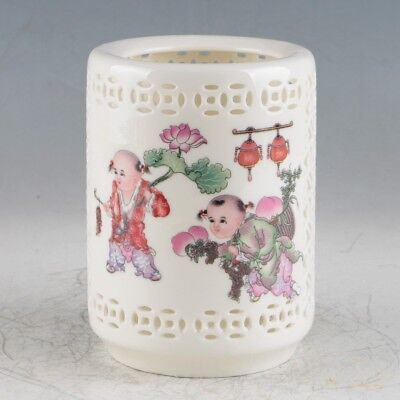 Chinese Porcelain Hand-Painted Brush Pot Made During Of The Qianlong Period